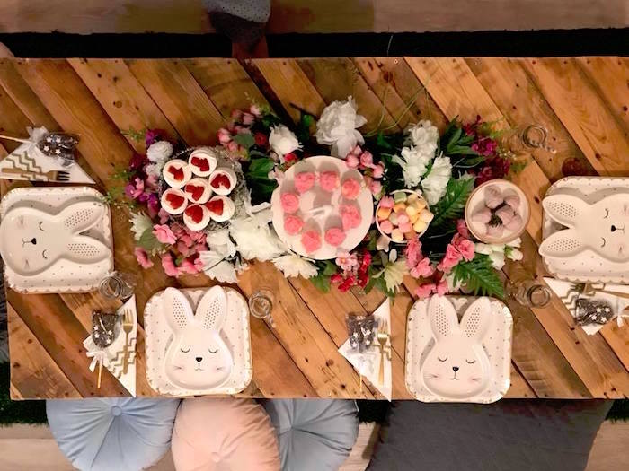 Bunny Guest Table from a Rustic Bunny Sleepover Party on Kara's Party Ideas | KarasPartyIdeas.com (6)