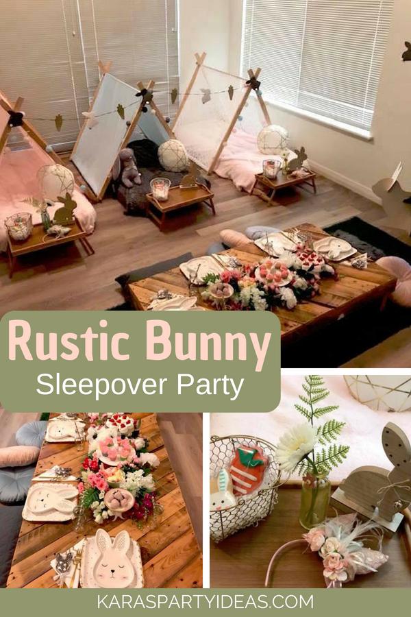 Rustic Bunny Sleepover Party via KarasPartyIdeas - KarasPartyIdeas.com