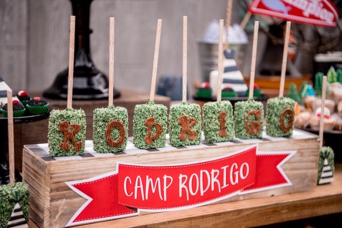 Camp Krispie Treats from a Rustic Camping Birthday Party on Kara's Party Ideas | KarasPartyIdeas.com (31)