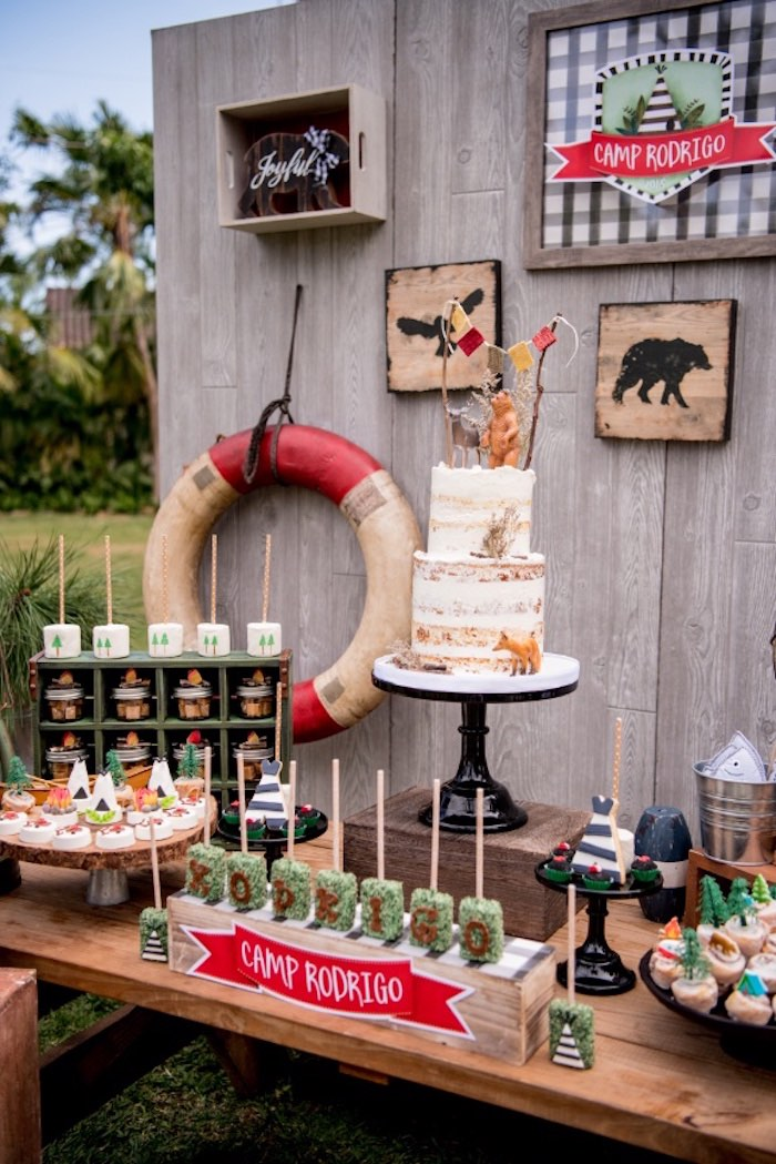 Cake Table from a Rustic Camping Birthday Party on Kara's Party Ideas | KarasPartyIdeas.com (27)