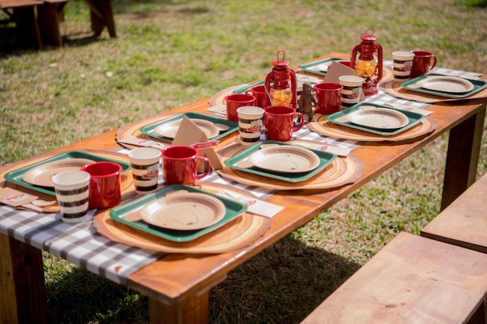 Camping Themed Guest Tablescape from a Rustic Camping Birthday Party on Kara's Party Ideas | KarasPartyIdeas.com (24)