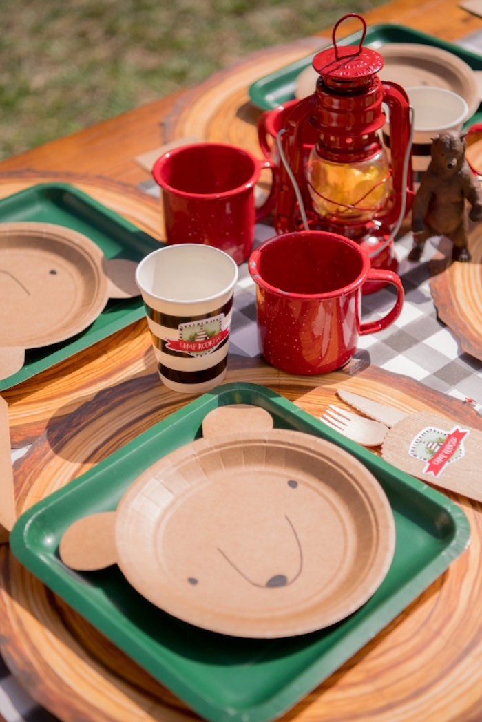 Camp Themed Table Setting from a Rustic Camping Birthday Party on Kara's Party Ideas | KarasPartyIdeas.com (23)