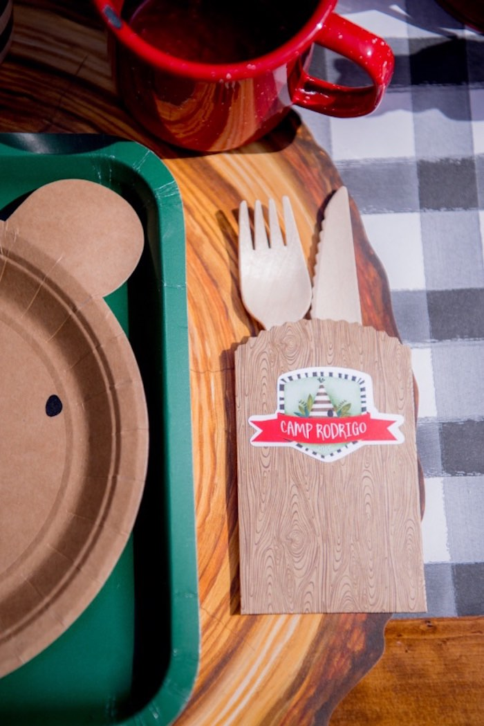 Wood Flatware Packet from a Rustic Camping Birthday Party on Kara's Party Ideas | KarasPartyIdeas.com (21)