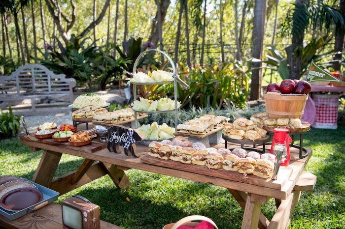 Picnic Table from a Rustic Camping Birthday Party on Kara's Party Ideas | KarasPartyIdeas.com (18)