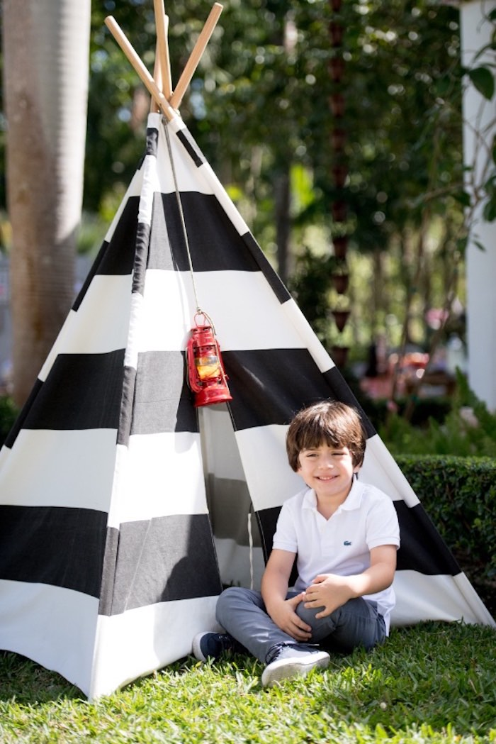 Tent from a Rustic Camping Birthday Party on Kara's Party Ideas | KarasPartyIdeas.com (17)