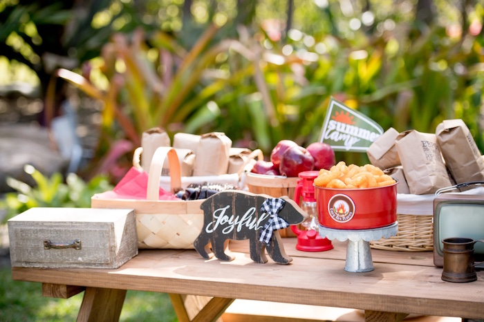 Picnic Table from a Rustic Camping Birthday Party on Kara's Party Ideas | KarasPartyIdeas.com (15)