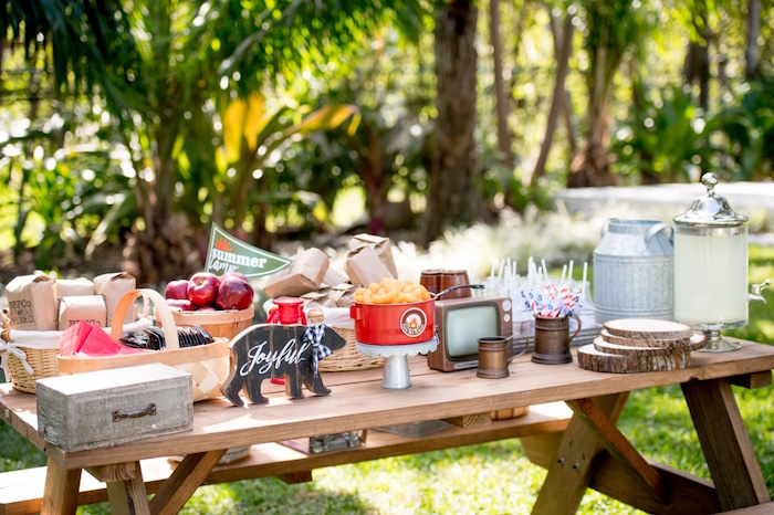 Picnic Table from a Rustic Camping Birthday Party on Kara's Party Ideas | KarasPartyIdeas.com (14)