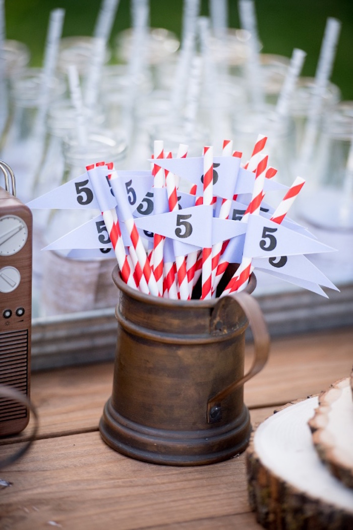 Straws from a Rustic Camping Birthday Party on Kara's Party Ideas | KarasPartyIdeas.com (12)