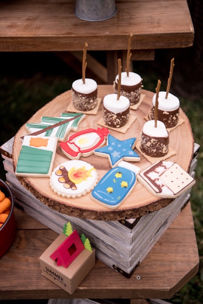 Camper Cookies + Marshmallow Pops from a Rustic Camping Birthday Party on Kara's Party Ideas | KarasPartyIdeas.com (39)
