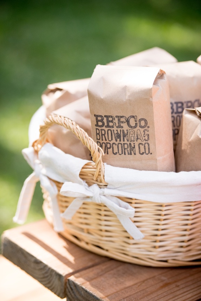 Brown Bag Popcorn from a Rustic Camping Birthday Party on Kara's Party Ideas | KarasPartyIdeas.com (10)