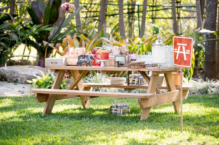 Picnic Camping Table from a Rustic Camping Birthday Party on Kara's Party Ideas | KarasPartyIdeas.com (9)