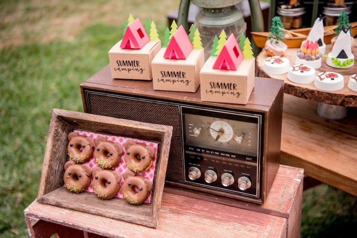 Camper Favor Boxes from a Rustic Camping Birthday Party on Kara's Party Ideas | KarasPartyIdeas.com (37)