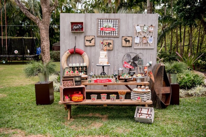 Camping Themed Dessert Table from a Rustic Camping Birthday Party on Kara's Party Ideas | KarasPartyIdeas.com (35)