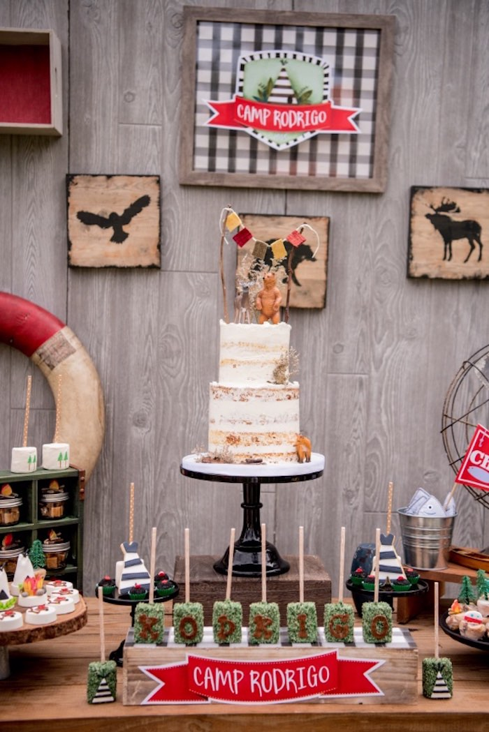 Camping Cake Table from a Rustic Camping Birthday Party on Kara's Party Ideas | KarasPartyIdeas.com (34)