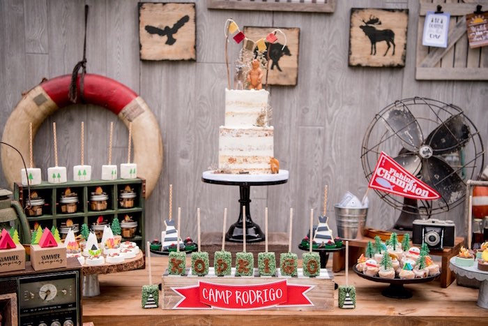 Camping Cake Table from a Rustic Camping Birthday Party on Kara's Party Ideas | KarasPartyIdeas.com (33)
