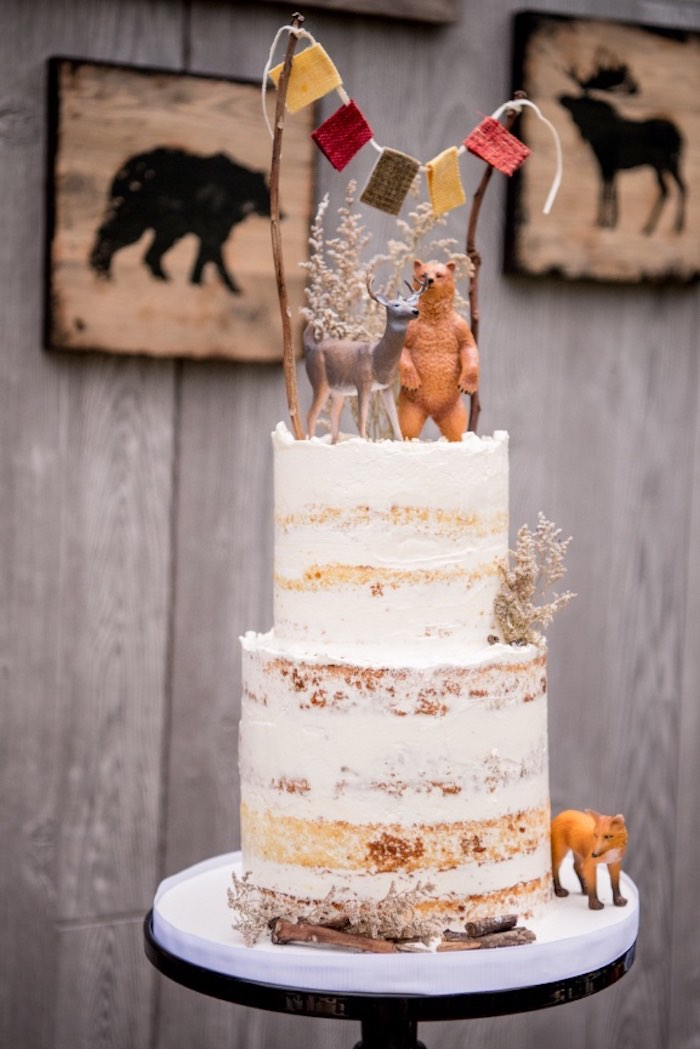 Semi-naked Camp Cake from a Rustic Camping Birthday Party on Kara's Party Ideas | KarasPartyIdeas.com (32)