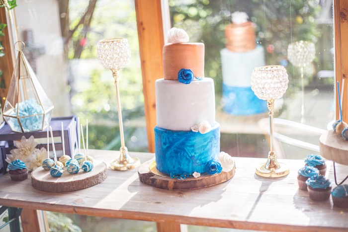 Blue Denim Cakescape from a Rustic Denim Inspired 40th Birthday Party on Kara's Party Ideas | KarasPartyIdeas.com (6)