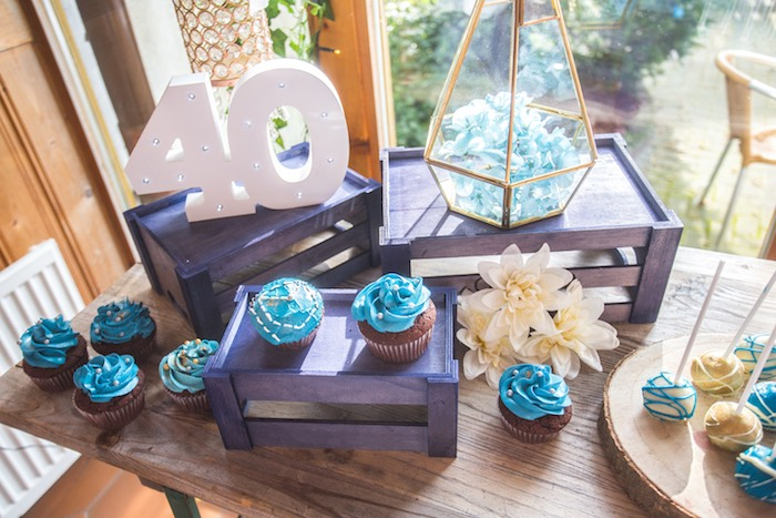 Cupcake Display from a Rustic Denim Inspired 40th Birthday Party on Kara's Party Ideas | KarasPartyIdeas.com (18)