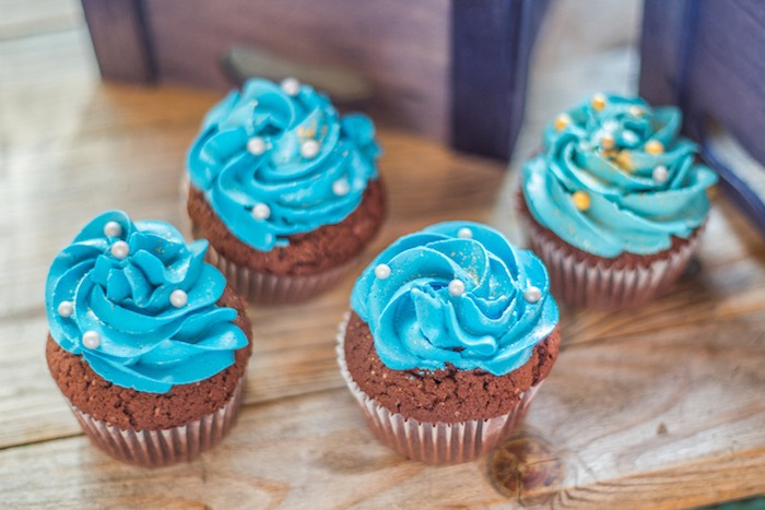 Blue-iced Cupcakes with White Sprinkles from a Rustic Denim Inspired 40th Birthday Party on Kara's Party Ideas | KarasPartyIdeas.com (14)
