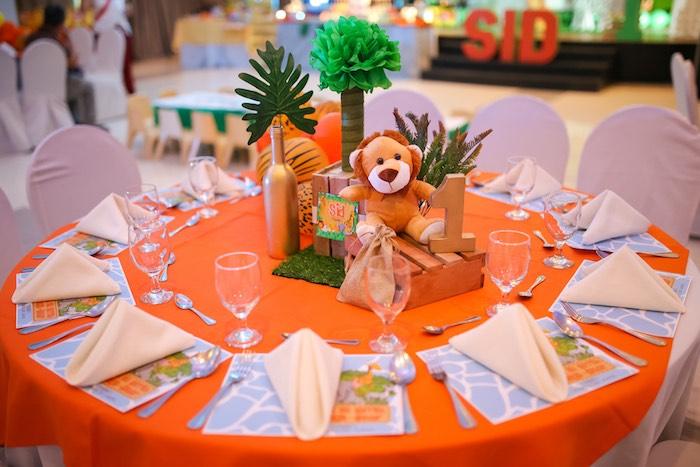 Safari Themed Guest Table from a Safari Animal Birthday Party on Kara's Party Ideas | KarasPartyIdeas.com (15)