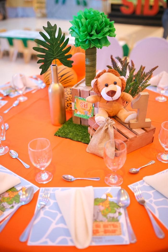 Safari Themed Guest Table Centerpiece from a Safari Animal Birthday Party on Kara's Party Ideas | KarasPartyIdeas.com (14)