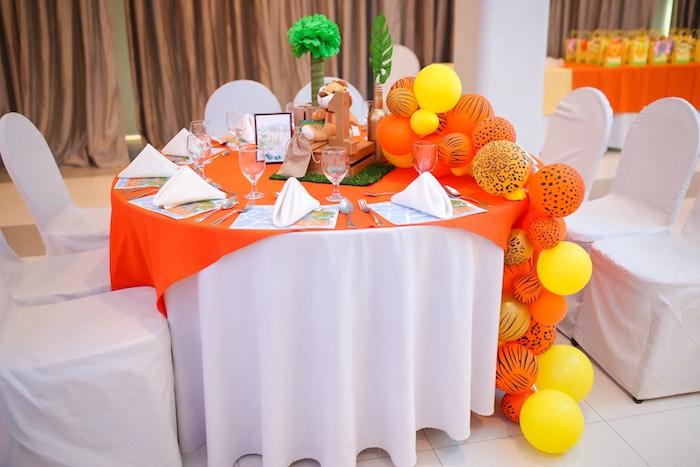 Safari Themed Guest Table from a Safari Animal Birthday Party on Kara's Party Ideas | KarasPartyIdeas.com (7)