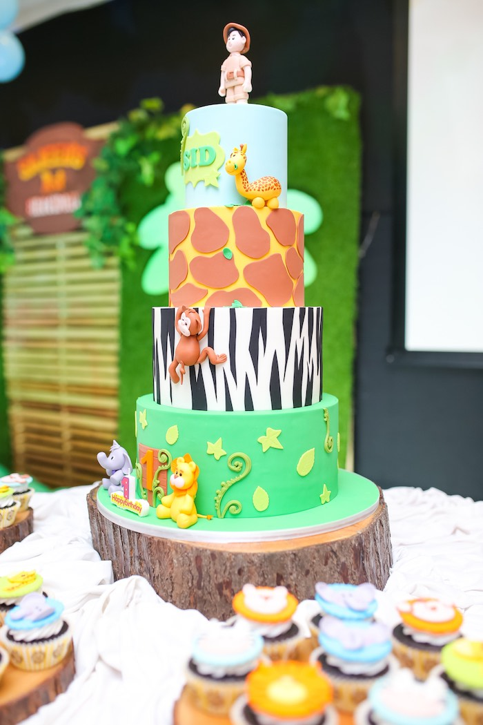 Safari Themed Cake from a Safari Animal Birthday Party on Kara's Party Ideas | KarasPartyIdeas.com (16)