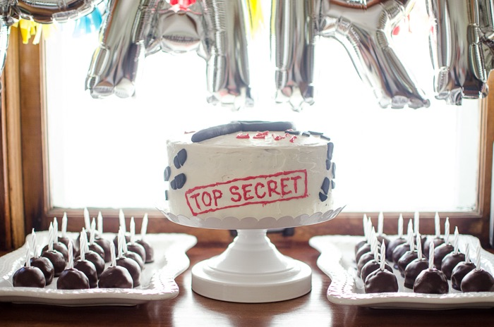 Secret Agent Birthday Cake from a Secret Agent Spy Birthday Party on Kara's Party Ideas | KarasPartyIdeas.com (23)