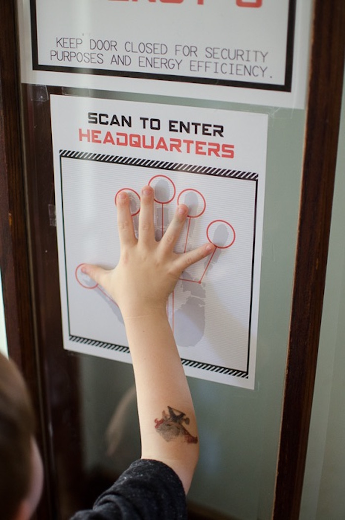Secret Agent Hand Scanner Entrance Access from a Secret Agent Spy Birthday Party via Kara's Party Ideas | KarasPartyIdeas.com