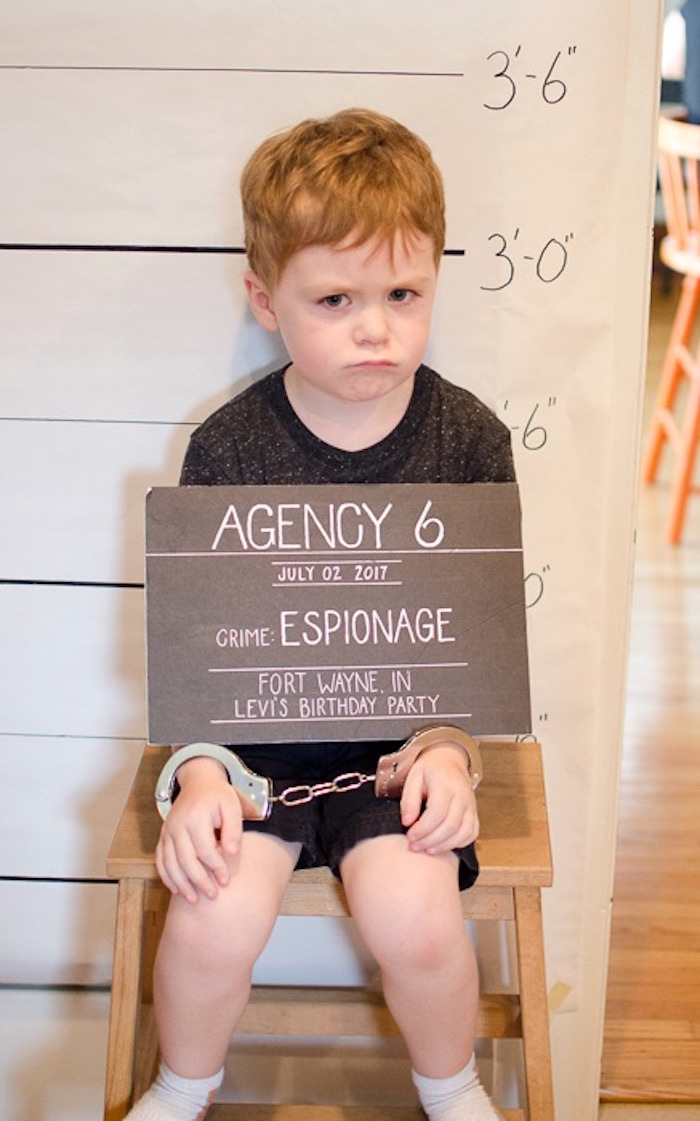 Criminal Photo Booth from a Secret Agent Spy Birthday Party via Kara's Party Ideas | KarasPartyIdeas.com
