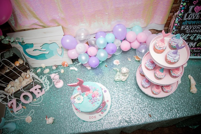 Sweet Table from a Shimmering Mermaid Birthday Party on Kara's Party Ideas | KarasPartyIdeas.com (7)