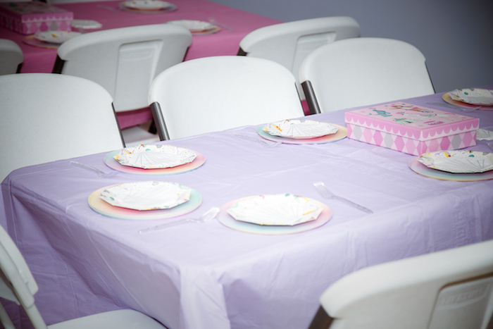 Guest Table from a Shimmering Mermaid Birthday Party on Kara's Party Ideas | KarasPartyIdeas.com (5)
