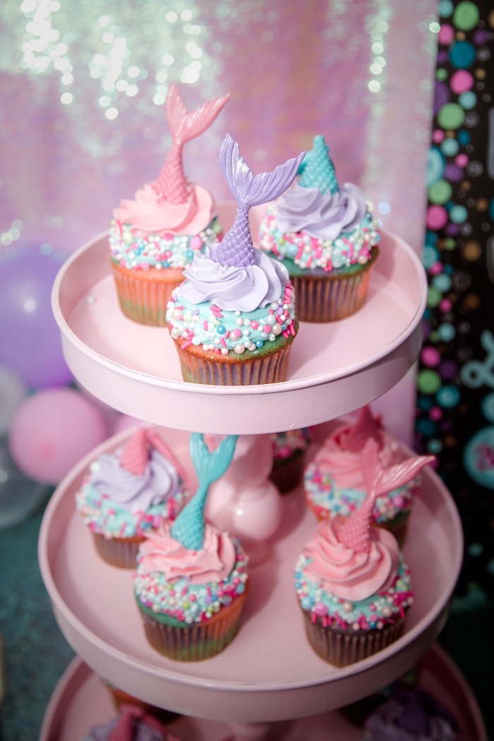 Mermaid Cupcakes from a Shimmering Mermaid Birthday Party on Kara's Party Ideas | KarasPartyIdeas.com (16)