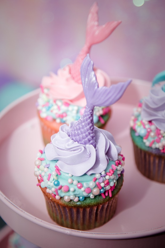 Mermaid Cupcakes from a Shimmering Mermaid Birthday Party on Kara's Party Ideas | KarasPartyIdeas.com (15)