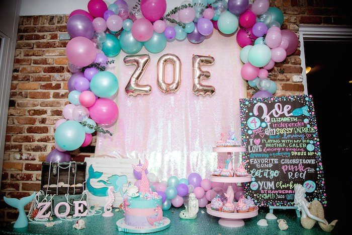 Mermaid Themed Dessert Table from a Shimmering Mermaid Birthday Party on Kara's Party Ideas | KarasPartyIdeas.com (14)