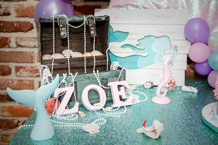 Under the Sea Table Decor from a Shimmering Mermaid Birthday Party on Kara's Party Ideas | KarasPartyIdeas.com (13)