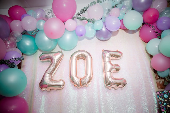 Balloon Arch Backdrop from a Shimmering Mermaid Birthday Party on Kara's Party Ideas | KarasPartyIdeas.com (11)