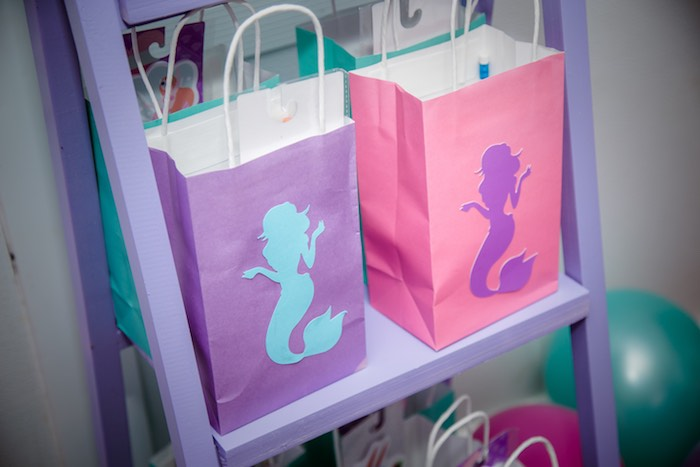 Mermaid Gift Bags from a Shimmering Mermaid Birthday Party on Kara's Party Ideas | KarasPartyIdeas.com (9)