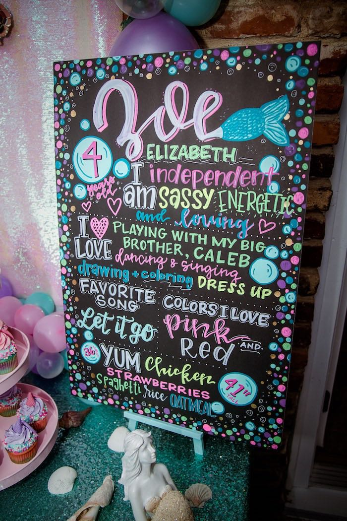 Milestone Chalkboard from a Shimmering Mermaid Birthday Party on Kara's Party Ideas | KarasPartyIdeas.com (8)