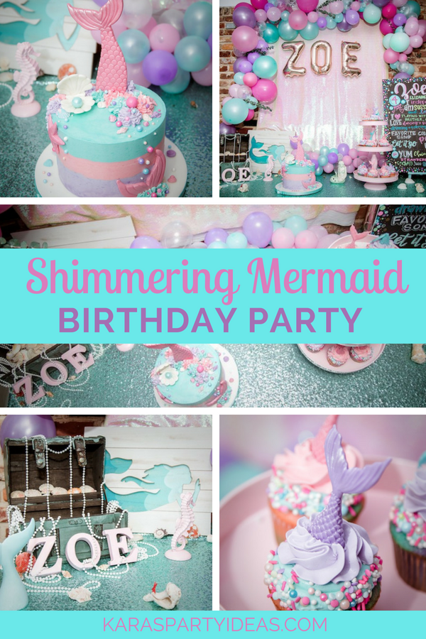 Shimmering Mermaid Birthday Party via KarasPartyIdeas - KarasPartyIdeas.com