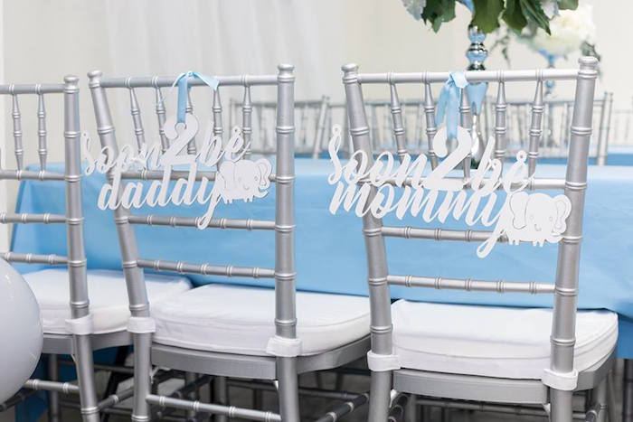 Chair Banners + Signage from a Silver & Blue Elephant Baby Shower on Kara's Party Ideas | KarasPartyIdeas.com (15)