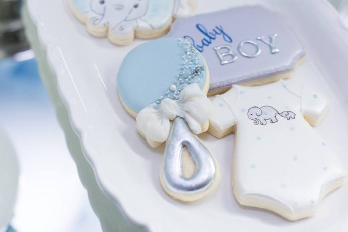 Baby Themed Sugar Cookies from a Silver & Blue Elephant Baby Shower on Kara's Party Ideas | KarasPartyIdeas.com (14)