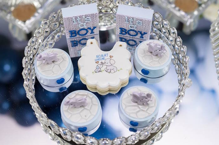 Elephant Themed Sweets from a Silver & Blue Elephant Baby Shower on Kara's Party Ideas | KarasPartyIdeas.com (9)