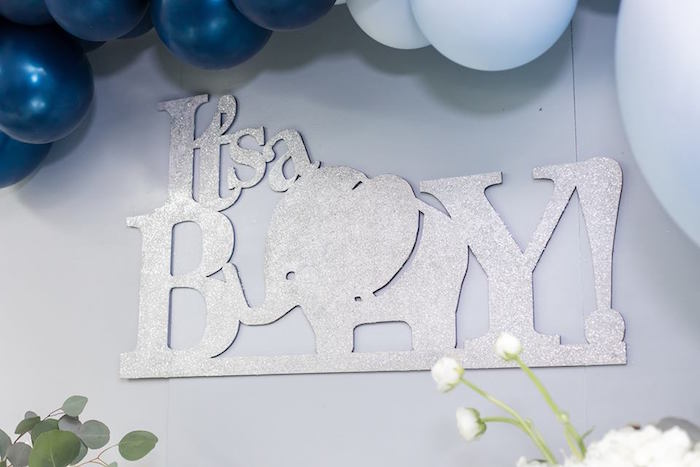 """It's a Boy"" Elephant Sign from a Silver & Blue Elephant Baby Shower on Kara's Party Ideas 