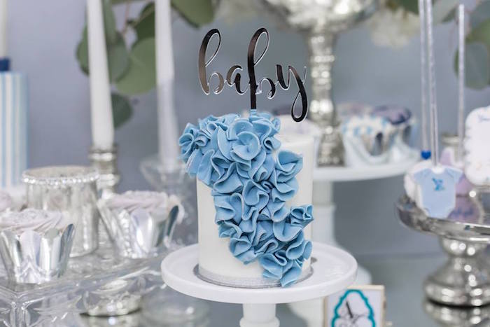 White & Blue Ribbon Ruffle Cake from a Silver & Blue Elephant Baby Shower on Kara's Party Ideas | KarasPartyIdeas.com (7)