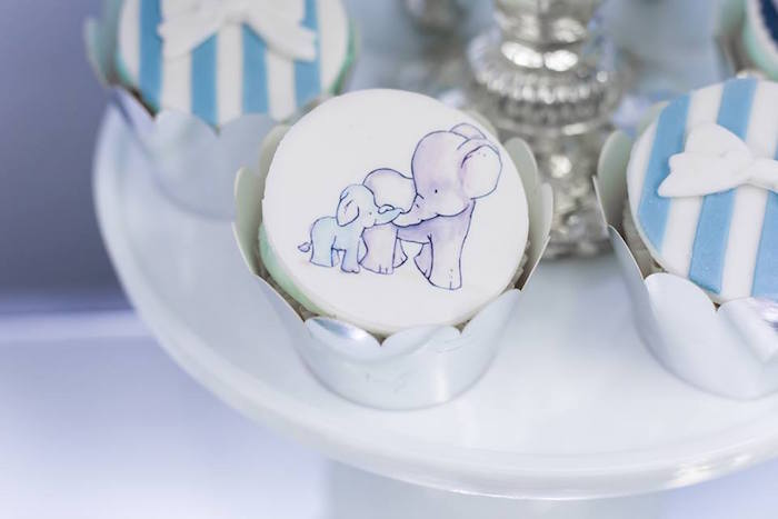 Momma & Baby Elephant Cupcake from a Silver & Blue Elephant Baby Shower on Kara's Party Ideas | KarasPartyIdeas.com (24)
