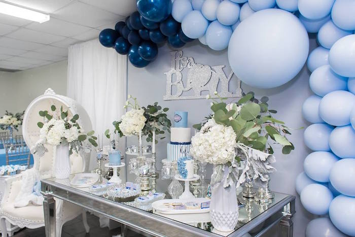 Elephant Party Table From A Silver U0026 Blue Elephant Baby Shower On Karau0027s  Party Ideas |