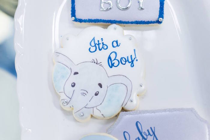 """It's a Boy"" Elephant Cookie from a Silver & Blue Elephant Baby Shower on Kara's Party Ideas 