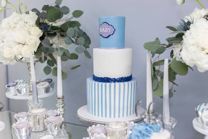 Blue + White Cake from a Silver & Blue Elephant Baby Shower on Kara's Party Ideas | KarasPartyIdeas.com (21)