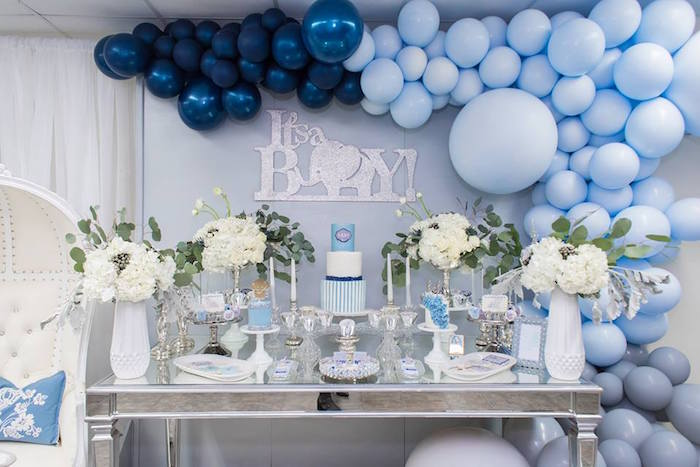 Kara's Party Ideas Silver & Blue Elephant Baby Shower | Kara's ...